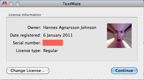TextMate License Information